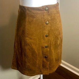 Button Front Faux-Suede Skirt
